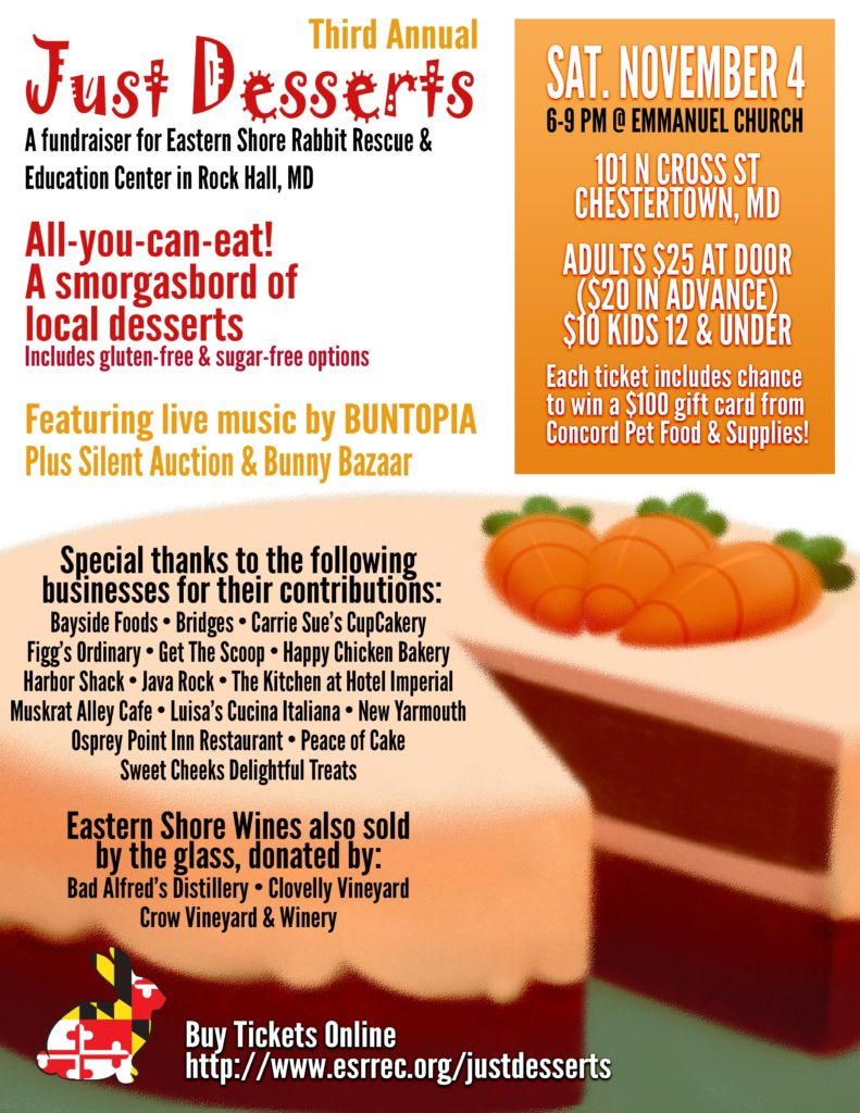 Just Desserts Fundraiser Eastern Shore Rabbit Rescue